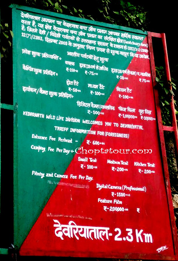Entry fee and Chopta Camping Charges